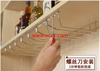 Wall Mountd Metal Kitchen Accessories Easy To Install With Glass Hanger