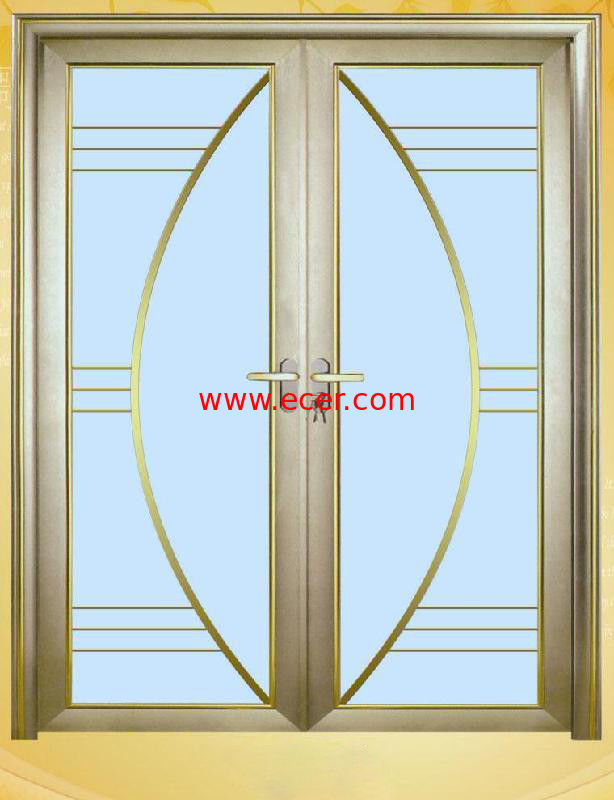 Thermal Break Aluminium Patio Doors / Wood Glass Door With Aluminium Frame