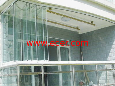 Blue green double folding glass windows reflectived coated Folding window
