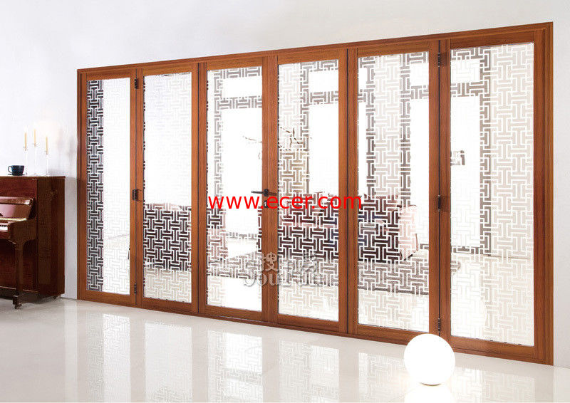 Internal Double Tempered Folding Glass Door 6063 Aluminum Powder Coating
