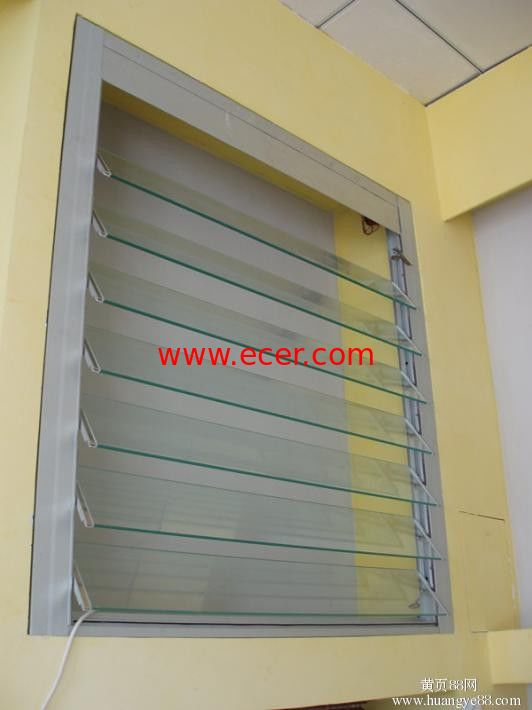 Silver Single Aluminum Glass Shutter Window With 5mm Clear Tempered Glass
