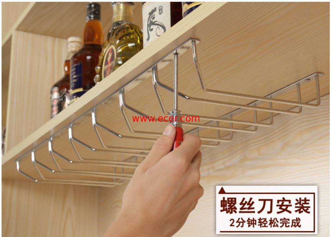 China Wall Mountd Metal Kitchen Accessories Easy To Install With Glass Hanger factory