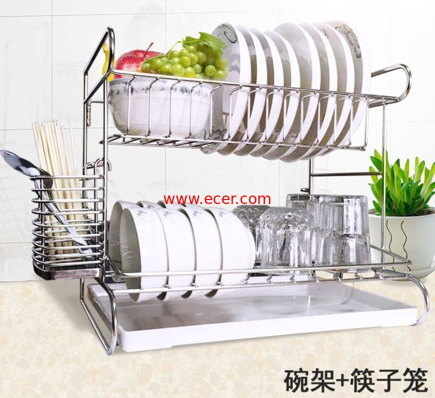 China Stainless Steel Dish Drainer Kitchen Wire Baskets With Cutting Board Holder 2 Tier factory