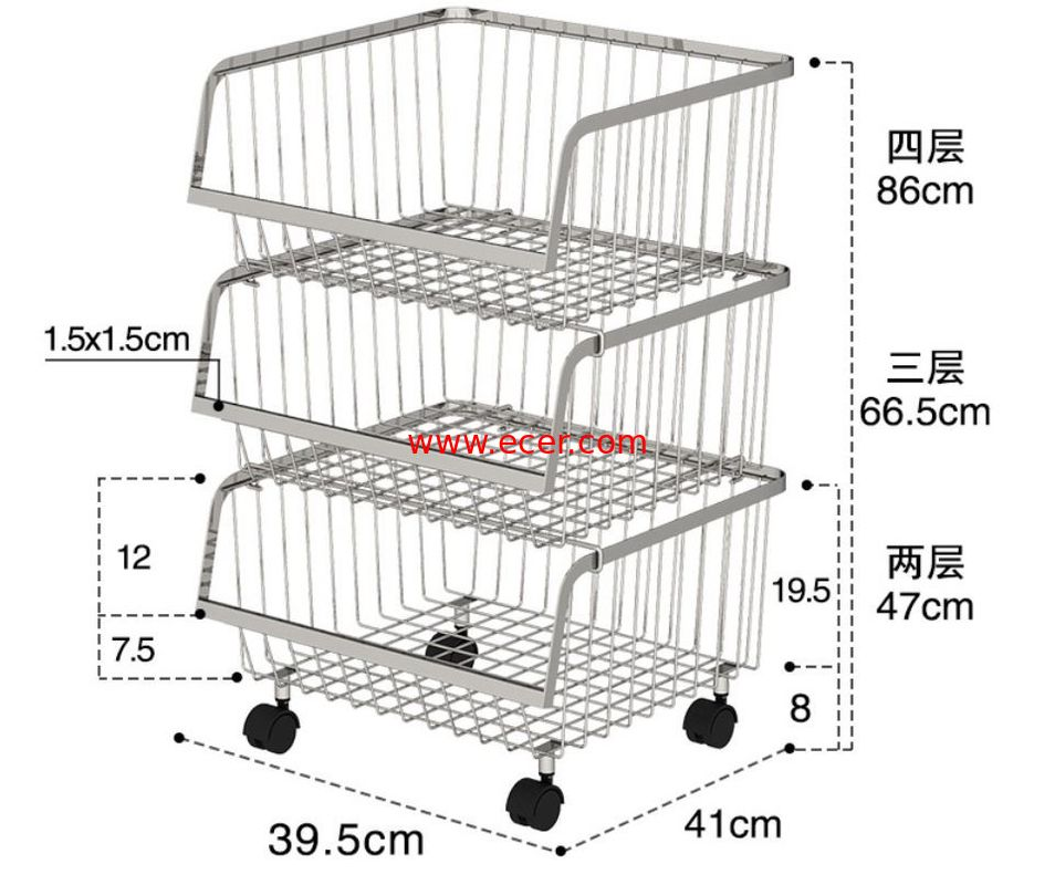 China Stackable Rolling Steel Rack With Wheels , Metal Stainless Steel Kitchen Storage Shelves factory