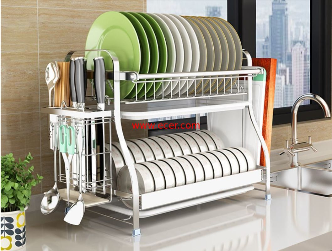 China Dish Drainer Drying Stainless Steel Storage Racks On Wheels With Cutlery Holder And Cup Holder factory