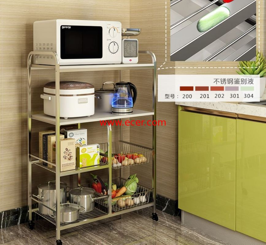 China Kitchen Stainless Steel Storage Racks On Wheels Adjustable With 4-6 Tier factory