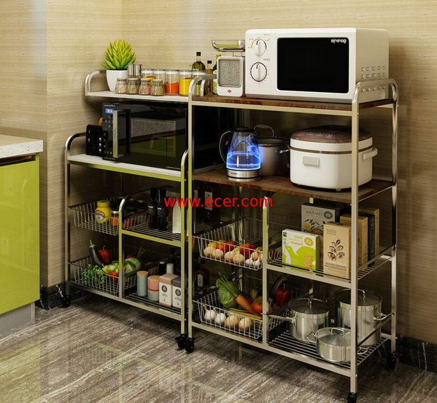China Flexible Wire Rack With Wheels , High Load Stainless Steel Kitchen Rack Shelf factory