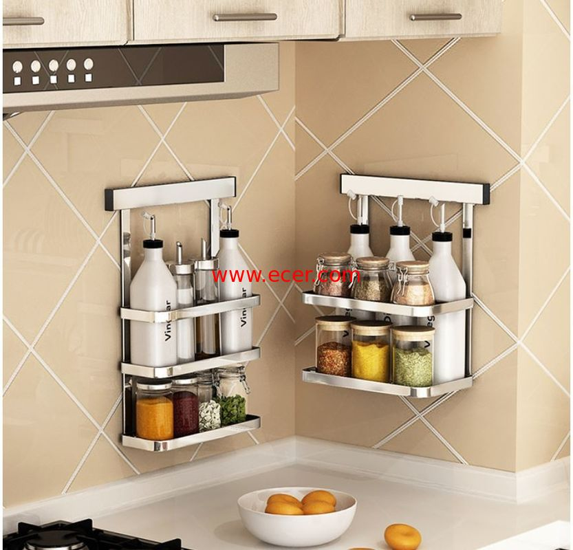 Metal Hanger Wall Hanging Steel Kitchen Rack Movable Bathroom Storage