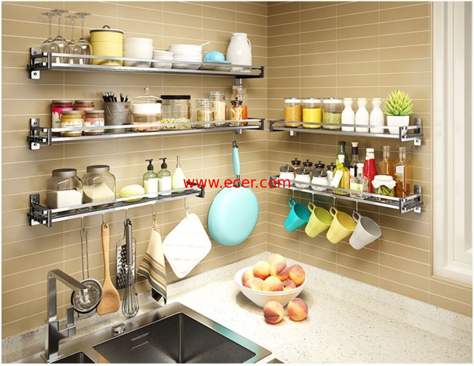 Multi Function Wall Shelves For Kitchen Storage , Seasoning Kitchen Wall Hanging Rack