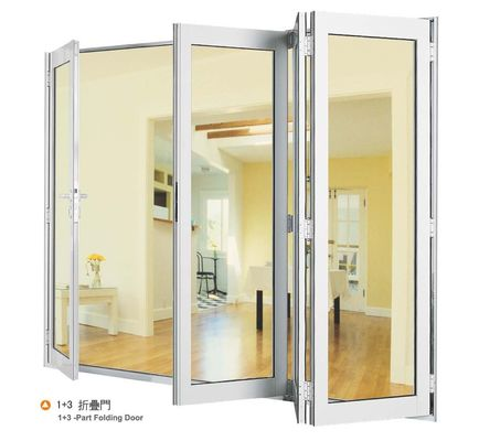 China Double Aluminium Sliding Folding Glass Door With Anodized Silver Frame distributor
