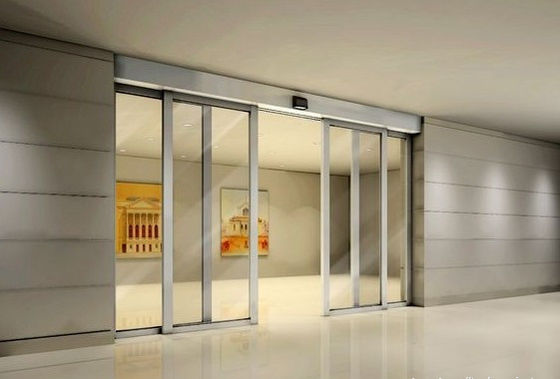 China Residential Building Sliding Automatic Glass Door Large  With Aluminum Frame distributor