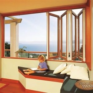 China Bedroom Tempered Folding Glass Windows Anodized Yellow Double ISO9001 / CE distributor