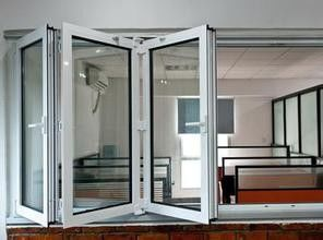 China Outside Grey Aluminum Folding Glass Windows Powder Coating For Commercial distributor