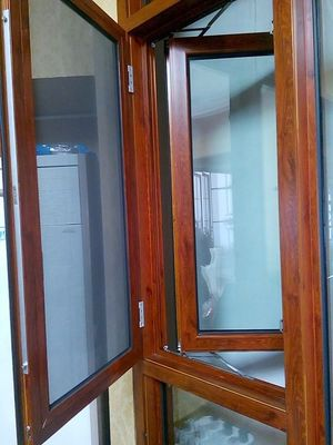China Inward Opening Wood Transfer Aluminum Casement Windows Hotel Coated Glass distributor