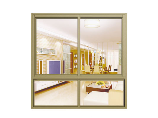China Waterproof Household Double Glass Sliding Window With Yellow Aluminum Frame , Wheel distributor