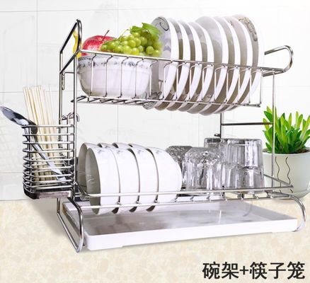 China Stainless Steel Dish Drainer Kitchen Wire Baskets With Cutting Board Holder 2 Tier distributor