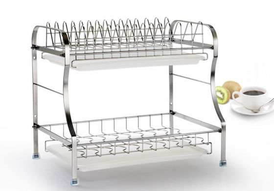 2 Tier Stainless Steel Storage Racks On Wheels Free Move For Home Kitchen